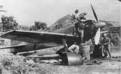 """Service engine fighter A6M3 «Zero"""" on one of the Japanese airfields in the Solomon Islands"""