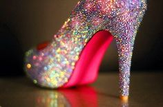 Silver sparkly heels with hot pink bottoms