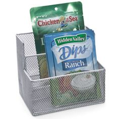 Baskets for seasoning packets: pantry organization Get these at the dollar store why did I think of this I will have to do this.