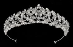"""1 1/2"""" Silver Plated Rhinestone Bridal and Quinceanera Tiara hp4408 Rhinestone Wedding, Silver Rhinestone, Quinceanera Tiaras, Budget Wedding, Wedding Ideas, Wedding Accessories, Silver Plate, Floral Wreath, Plating"""
