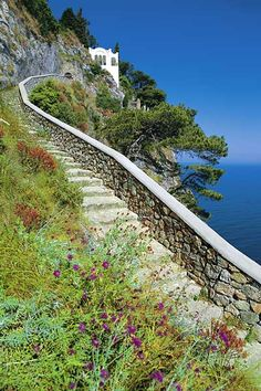 The Phoenician staircase which once linked Capri to Anacapri Italy