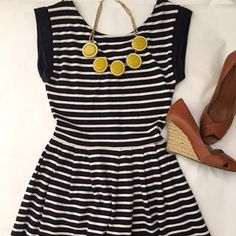 Navy and Cream fit and flare dress Navy and Cream fit and flare dress with pleats and exposed zipper. ⭐️5 Star Seller  Fast Shipper ➡️Read my reviews! French Connection Dresses Mini