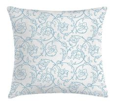 c922accaf Floral Throw Pillow Cushion Cover by Ambesonne, Flower Orchids Bohemian  Style Vintage Petals Vines Pattern French Country Style, Decorative Square  Accent ...