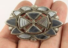 Large antique Victorian sterling silver c1890 Scottish agate pebble brooch pin