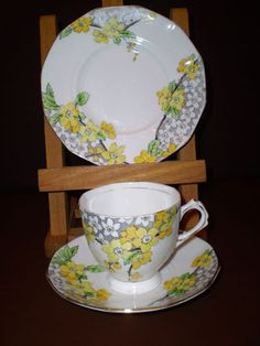 Vintage Art Deco Plant Tuscan China Cabinet Tea Trio - Yellow Flowers | eBay