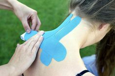 Kinesiology tape can be used to maintain posture.