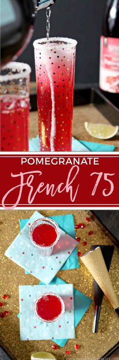 The Pomegranate French 75 makes a tasty celebratory cocktail to sip while ringing in the new year! This bubbly drink is party perfect. #ad via @speckledpalate