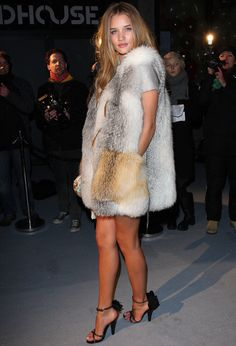 rosie huntington-whiteley, fur vest