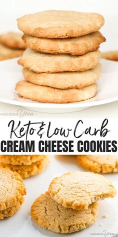 Low Carb Keto Cream Cheese Cookies Recipe – Quick & Easy – These low carb keto cream cheese cookies are so fast & easy to make! Just 6 ingredients, 10 minutes prep, and 15 minutes in the oven. Low Carb Sweets, Low Carb Desserts, Healthy Low Carb Recipes, Low Carb Keto, Low Carb Snack Ideas, Diabetic Cookie Recipes, Healthy Food, Healthy Holiday Recipes, Healthy Fruits
