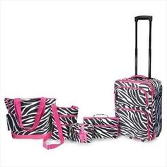 Six Piece Zebra Luggage Collection Old Suitcases, Luggage Sets, Jewelry Stores, Detail, Backpacks, Amazon, Vacation Ideas, Stuff To Buy, Bags