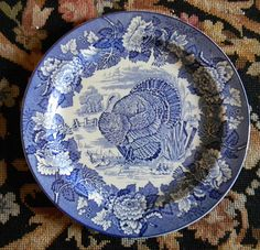Vintage Thanksgiving Turkey Plate Enoch Wood & Sons English Scenery Blue and White Transferware Plate - Nancy's Daily Dish Vintage Thanksgiving, Thanksgiving Tablescapes, Thanksgiving Turkey, Thanksgiving Plates, Blue And White China, Love Blue, Tom Turkey, Turkey Time, Turkey Plates
