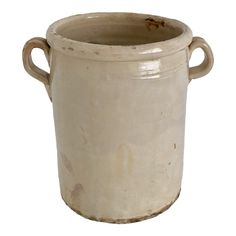 Highly sought after northern Italian glazed confit pot originally used for storing olives or duck fat. A lot of wear to these utilitarian ve. French Antiques, Vintage Antiques, Olive Jar, Antique Crocks, Wood Stone, Large Pots, Living Styles, Architectural Elements, How To Distress Wood