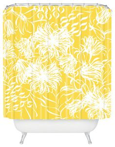 Vy La Bright Breezy Yellow Shower Curtain - contemporary - Shower Curtains - DENY Designs