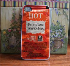 Taco bell packet HOT personalized - iPhone 4S and iPhone 4 Case. $15.99, via Etsy.