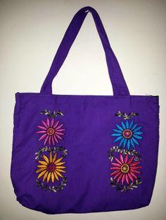 Bolsa en tela de algodón con bordado de flores