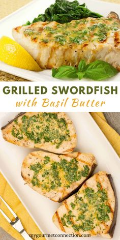 Grilled Swordfish with Lemon-Basil Butter Swordfish is a great choice for grilling, and topped with a herb butter flavored with fresh basil and lemon zest, it makes an outstanding meal, with very little fuss. Seafood Platter, Seafood Dishes, Fish And Seafood, Seafood Recipes, Recipes Dinner, Paleo Dinner, Pasta Recipes, Cake Recipes, Dessert Recipes