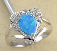 18K White Gold Filled Blue Fire Opal Ring - Size 8 Exquisite and unusual 18K White Gold Filled Blue Fire Opal Ring.