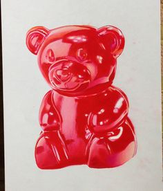 Gummy Bear marker drawing by Pony Lawson. Prismacolor Colored Pencils and Copic Markers