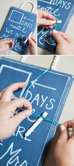 "DIY Wedding // Make a ""Wedding Countdown Chalkboard Sign"" to celebrate everyday until you say I do!"