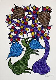 Dog chasing bird, Acrylic colors on paper  Size- 36.2 X 25.5Cms. (14.252X10.039 inch) Artist – Lilesh Kumar Ureti Year of execution-2015