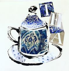 Monoprint Chine Colle. Earl Grey Please. Part of Tea Collection