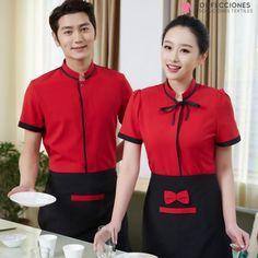 Cafe Uniform, Hotel Uniform, Kids Uniforms, Staff Uniforms, Restaurant Uniforms, Cute Aprons, Dress Neck Designs, Apron Designs, Work Suits