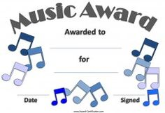 Music awards editable music award certificates pinterest music certificate template free and customizable yelopaper Gallery