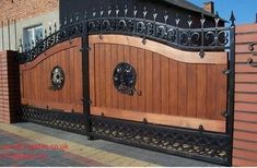 Infill Oak T&G wood The price is for a gate up to opening and height. House Main Gates Design, Front Gate Design, Door Gate Design, Wooden Gate Designs, Wooden Gates, Victorian Fencing And Gates, Wrought Iron Driveway Gates, Wooden Driveway Gates, Sliding Gate