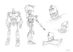 The Iron Giant Sketch 2 by *JowieL on deviantART I have a design idea for a tattoo based on the iron giant combined with a few other elements. This makes a great template, particularly the full body image on the left.