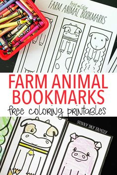 Free printable farm animal bookmarks for kids to color! These farm coloring…