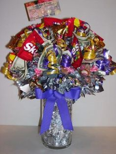 Candy Bouquets--love the hershey kisses in the bottom!
