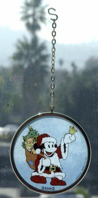 Mickey Mouse glass disc ornament from Fantasies Come True