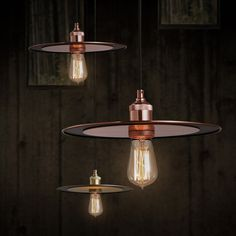 Industrial Metal Flat Shade 1-Light Pendant Lamp in Copper / Brass - Pendant Lights - Ceiling Lights - Lighting $69.99