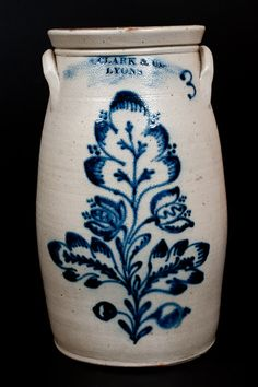 Exceptional Three-Gallon Stoneware Churn with Elaborate Cobalt Floral Decoration, Stamped Antique Crocks, Old Crocks, Antique Stoneware, Stoneware Crocks, Antique Pottery, Primitive Antiques, Stoneware Clay, Primitive Bedroom, Jars