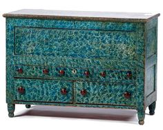 Cowan's 10/17/15 Lot 229. Estimate: $1,000 - $1,500. Winning bid: $19,200. Description: Five-Drawer Blanket Chest in Original Blue Sponge Paint, American, 19th century. A pine and poplar blanket chest of paneled construction, retaining its original blue sponge-painted surface, having a hinged, molded lid and an open interior above three over two aligned dovetailed drawers fitted with wooden pulls, all rising on short, ring-turned legs ending in ball feet; ht. 32.5, wd. 45.25, dp. 20.5 in…