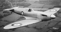 Vickers-Supermarine Type 300, K5054, during its first flight, 5 March 1936. The pilot is Captain Joseph Summers. Right front, oblique. (Supermarine Aviation Works)