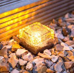 Small Warm White LED Glass Brick Solar Garden Path Light #backyardlandscapediysolarlights