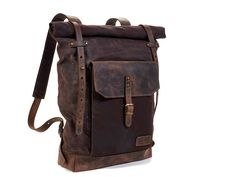Dark brown waxed canvas backpack. Leather canvas backpack. Hipster backpack. Leather canvas bag. Waxed canvas rucksack. Leather rucksack. by InnesBags on Etsy https://www.etsy.com/listing/216670667/dark-brown-waxed-canvas-backpack-leather