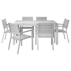FALSTER Pöytä ja 6 nojatuolia - harmaa - IKEA