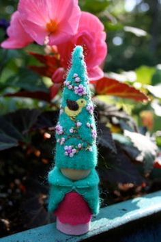 Turquoise blue apple tree blossom bird felt gnome Waldorf inspired elf sprite nature table play doll.