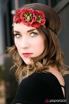 Forest Flower~ $5 Headbands, Hair Accessories, and Jewelry!! Perfect Red and Black headband for that boho, hippie, or pixie look! Also available in purple!
