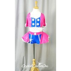 Hot Pink and Royal Blue Two-Piece with White Accents - Rhinestones - Size YM Dance Costumes Kids, Costumes Couture, Blue Two Piece, Dance Outfits, Pageant, My Girl, Rhinestones, Royal Blue, Hot Pink