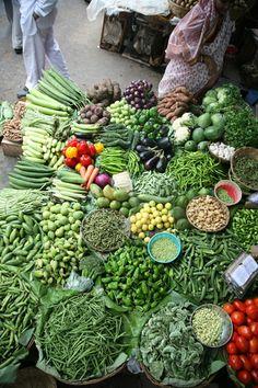 A produce vendor's display at Bhaji Galli Market in Mumbai.