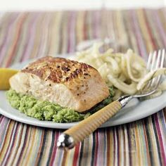 Seared Salmon on Herbed Mashed Peas by Cooking Light