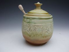 Honey Pot/ Sugar Bowl by LindooPottery on Etsy
