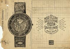 Branding & hand-lettering for MONA  MONA is a french watch brand. Each model as been designed to be the most authentic, qualitative and honest possible. All the components come from France and Swiss. The watches are assembled in their workshop in Bordeaux. They do Modern Watchmaking.
