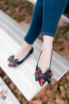 J. Crew Lottie bow flats in tartan