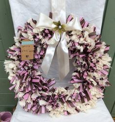 Stylish round rustic country style rag wreath pink, cream and purple by DottyCottage1 on Etsy