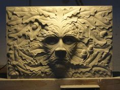 Hand carved Yorkstone Garden Or Yard / Outside and Outdoor by Joseph Hayton titled: 'Green Man oak (Carved York stone Face sculpture Plaques)'. Outdoor Sculpture, Sculpture Art, Stone Sculptures, Garden Sculpture, York Stone, Stone Carving, Wood Carving, Art Of Man, Ancient Symbols