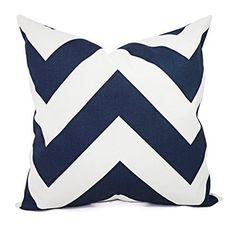 Blue Pillows - Navy and White Chevron Pillow Cover - Custom Pillow Sham - Decorative Pillow Case - 16 x 16 Inch 18 x 18 Inch 20 x 20 Inch Throw Pillow. One gorgeous decorative pillow cover in Premier Prints Navy Zippy. The pillow cover is navy blue and white on 100% cotton fabric in a modern large chevron print. This listing is for pillow cover/s only. You can find the inserts at most home goods stores or craft stores. All covers are made to order, and production time is 4-7 business…